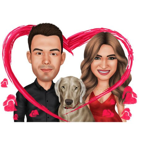 Couple and Labrador in Heart Colored Caricature from Photos for Pet Lovers Gift - example