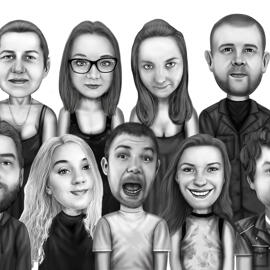 Group Cartoon Drawing in Black and White Digital Style