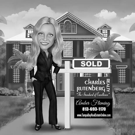 Black and White Custom Realtor Caricature Logo with House Background - example