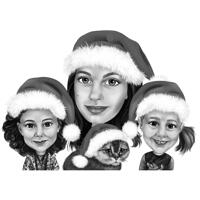 Mother with Kids Christmas Caricature from Photos