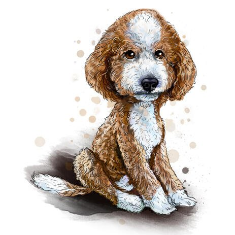 Labradoodle Puppy Caricature Drawing in Full Body Watercolor Natural Style from Photos - example