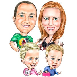 Colored Family Caricature Drawing in Pencils Style