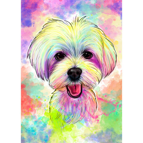 Pastel Bichon Bolognese Portrait from Photos - Watercolor Style with Delicate Abstract Background - example