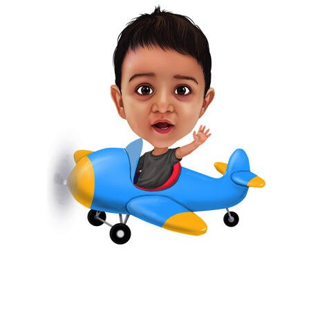 Kid on Airplane Pilot in Colored Digital Style - example
