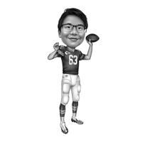 Ganzkörper-Fußball-Rugby-Spieler-Person-Karikatur im Schwarz-Weiß-Stil aus Fotos