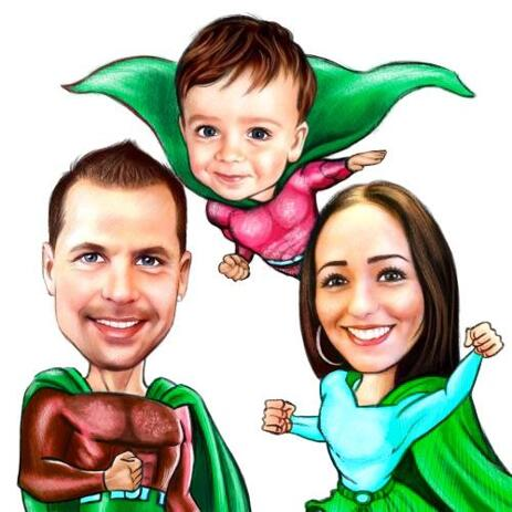 Family Caricature with Random Superhero Costumes in Colored Pencils - example