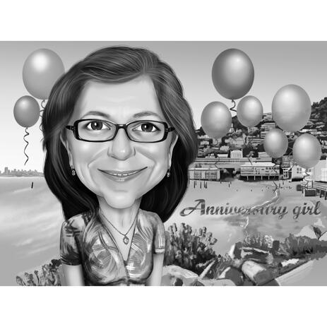 Personalized Birthday Caricature for Sister from Photos with Background - example
