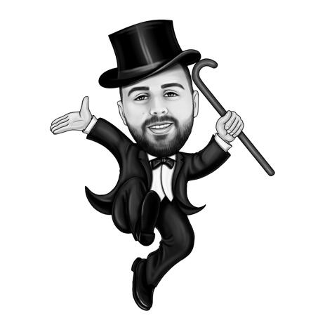 Party Show Man Cartoon Portrait from Photos in Black and White Style - example