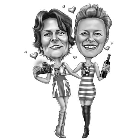 Best Friends Caricature Picture from Photos for Custom Birthday Gift - example