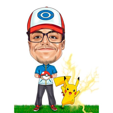 Custom Caricature from Photos for Pokemon Fans - example