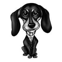 Lustige hoch übertriebene Dackelkarikatur im Schwarz-Weiß-Stil