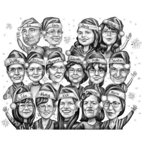 Christmas Group Caricature from Photos in Black and White Pencils - example