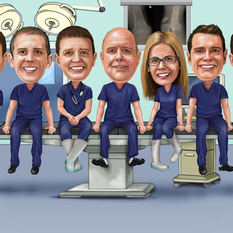 Doctors Group Caricature from Photos - example