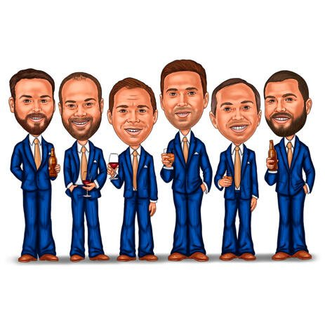 Holding Drinks - Cool Groomsmen Caricature Gift - example