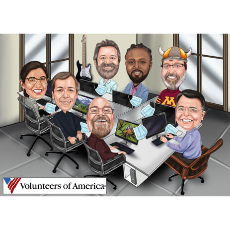 Group Caricature Working Together in Office in Colored Syle - example