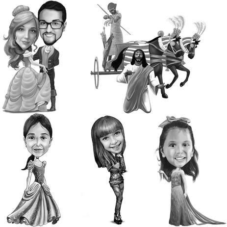 Any Cartoons Character Caricature from Photos: Black and White, Full Body - example