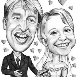 从照片的新娘和新郎讽刺画在黑白样式