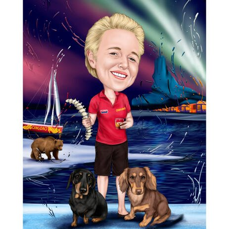 Person with Dogs Caricature Painting in Colored Style on Arctic Custom Background - example