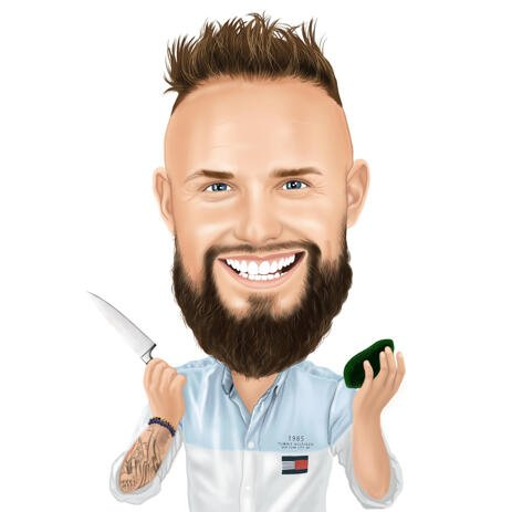 Colored Cook Caricature Gift from Photos for Chef and Culinarian Lovers - example