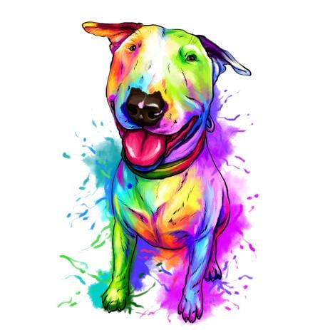 Retrato de caricatura de cachorro poderoso bull terrier em estilo aquarela de corpo inteiro a partir de fotos - example
