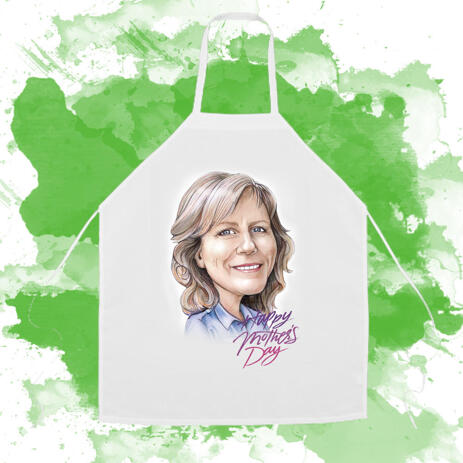 Apron on Mother's Day: Custom Cartoon Drawing in Colored Pencils Style - example