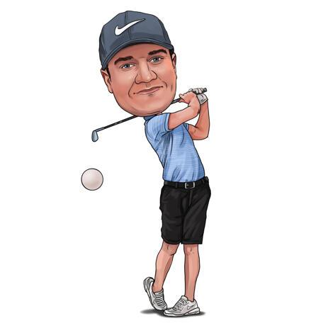Карикатура гольфиста в полный рост на белом фоне. - example