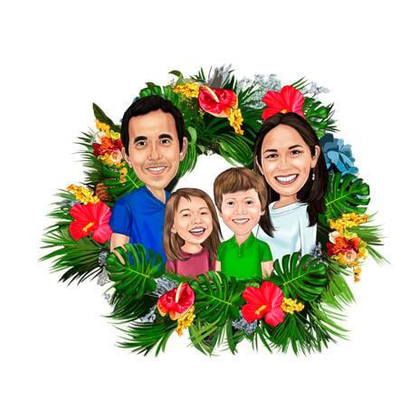 Семейная рождественская карикатура в рождественском венке - example