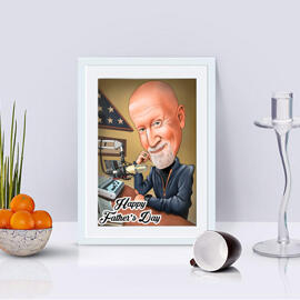 Photo Print: Colored Digital Fathers Caricature Drawing