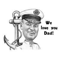 Sømandskarikatur i sort-hvid blyantstil til farsdagsgave