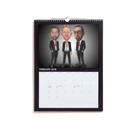 Business Group Caricature on Calendar - example