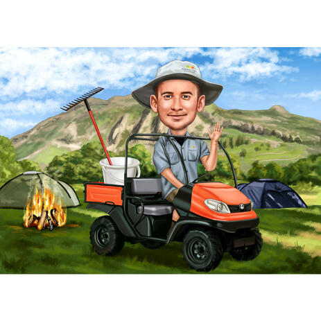 Camping Trip Caricature of Person in Colored Style Hand Drawn from Photos - example