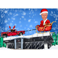 Christmas Caricature of Person in Santa's Sleigh