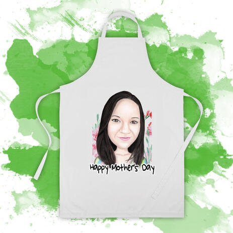 Custom Baking Apron: Personalized Cartoon Portrait of Woman - example