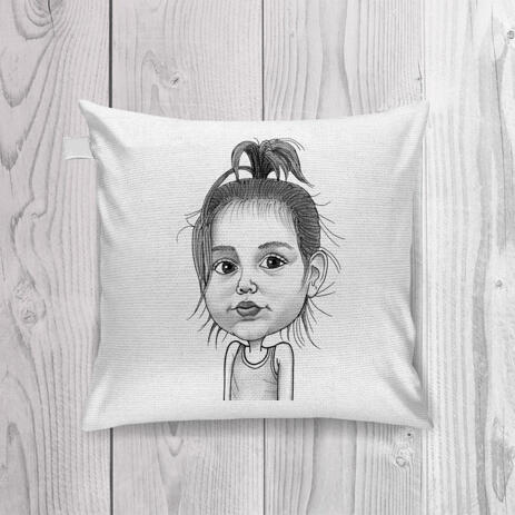 Baby Girl Caricature Printed on Pillow - example
