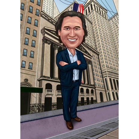 Caricature Drawing in Colored Style with City Background - example
