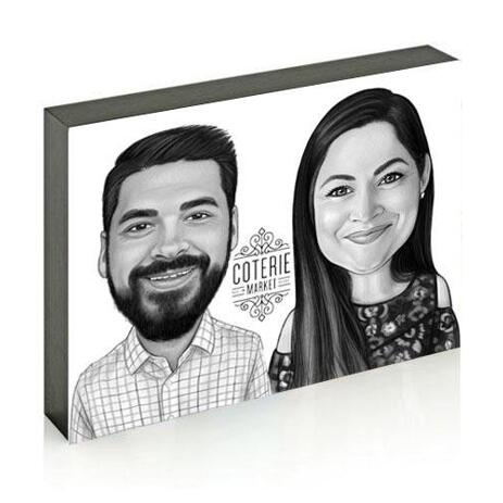 Business Partners Caricature on photo block - example
