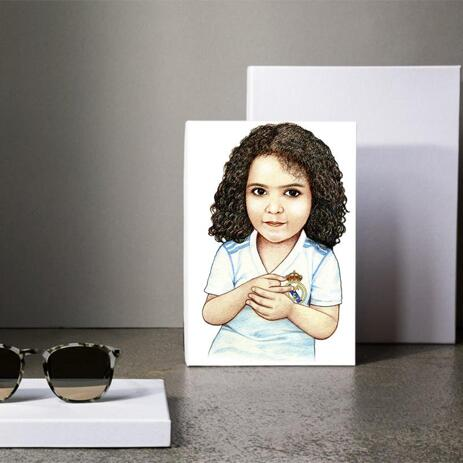 Kid Caricature Drawing Printed as Canvas - example