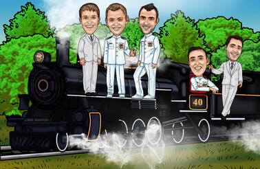 Train Groomsmen Caricature from Photos