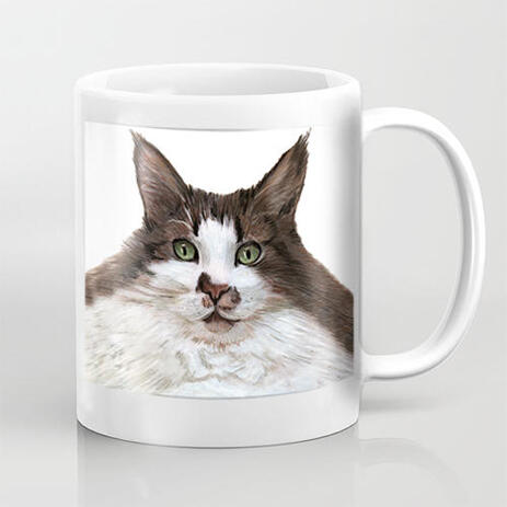 Custom Cat Mug Cartoon Portrait in Color Style for Pet Lovers Gift - example