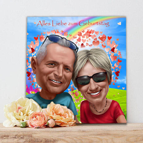 Funny Couple Gift Caricature with Custom Background on Canvas Print - example