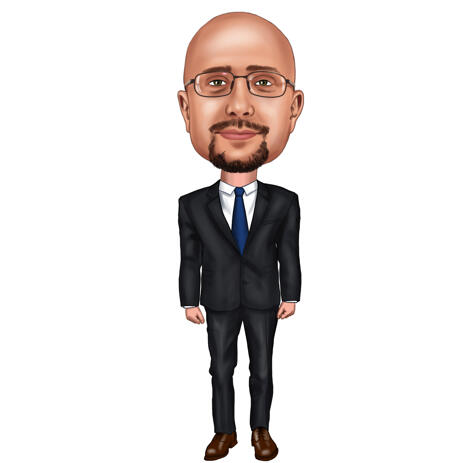 Business Person Insurance Actuary Cartoon Portrait in Full Body Colored Style from Photos - example