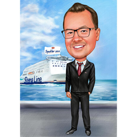 Custom Full Body Commercial Traveler Caricature from Photos - example