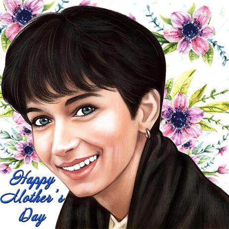 Mother's Day Gift Portrait tekening in kleurpotloden stijl - example