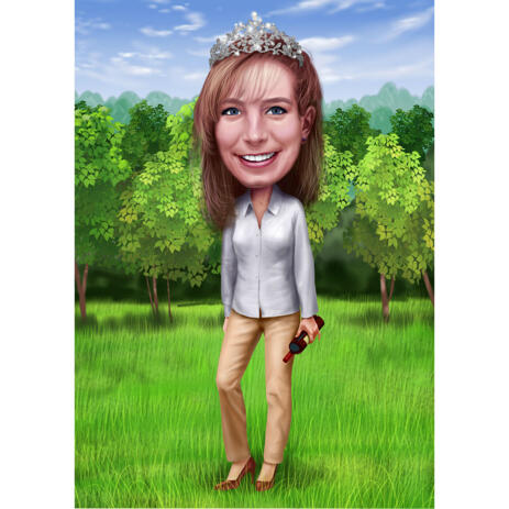 Custom Cartoon Illustration Drawing from Photo of Woman - example
