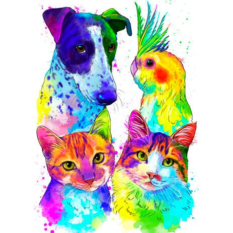 Watercolor Pets Portrait Mix: Dog, Cat and Bird - example