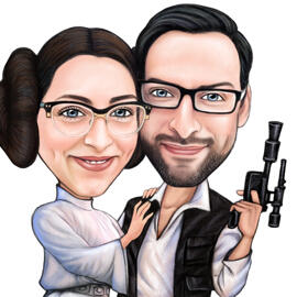 Star Wars Fans Couple Caricature for Anniversary Gift