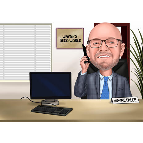 Busy Employee Caricature from Photo with Office Background - example