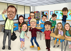School Group Caricature from Photos