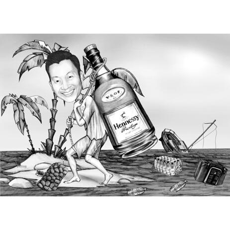 Person on Vacation - Funny Custom Caricature in Black and White Style - example