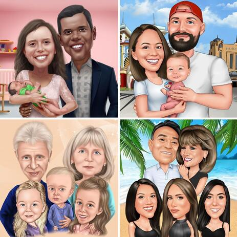 Family Caricature Portrait in Color Style with Custom Background - example